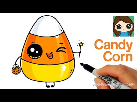 How to Draw Cute Candy Corn Easy | Cartoon Food