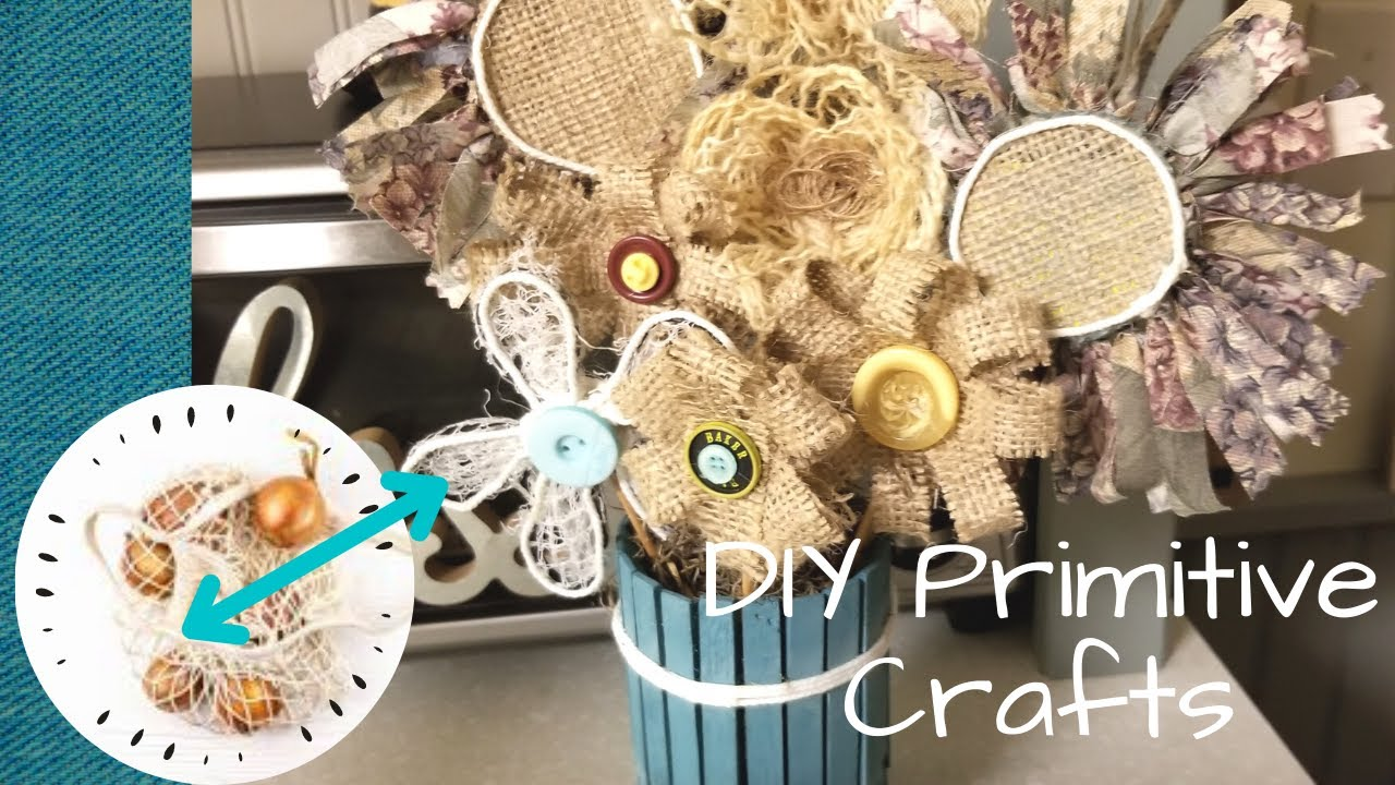 Primitive Flowers made from Onion Bag Mesh!