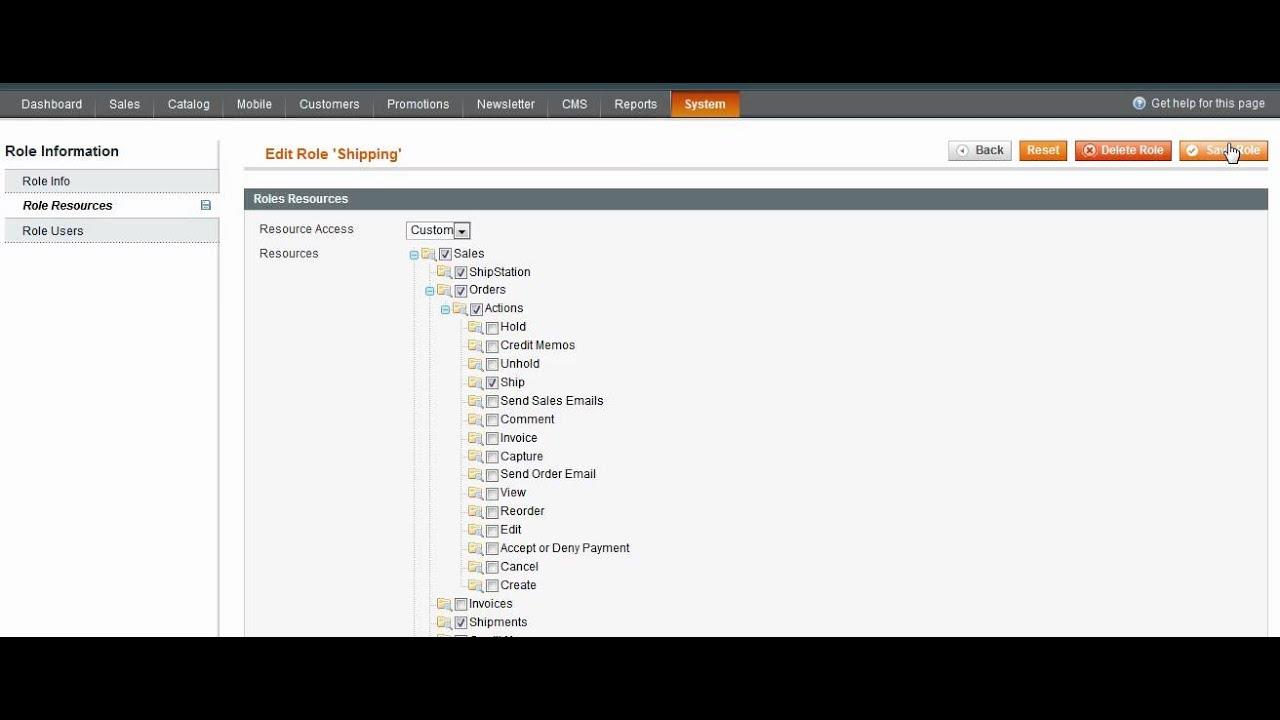 How To Set Magento Admin Role Permissions - Magento Web Design South Florida