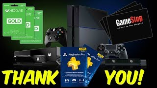 #Giveaway PS4 Giftcards, XBOX 1 Giftcards, Gamestop Giftcards, & MORE! 6,001 Subscribers!