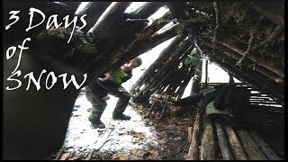 3 Days of SNOW at the LEAN TO Bushcraft Survival Shelter Base Camp