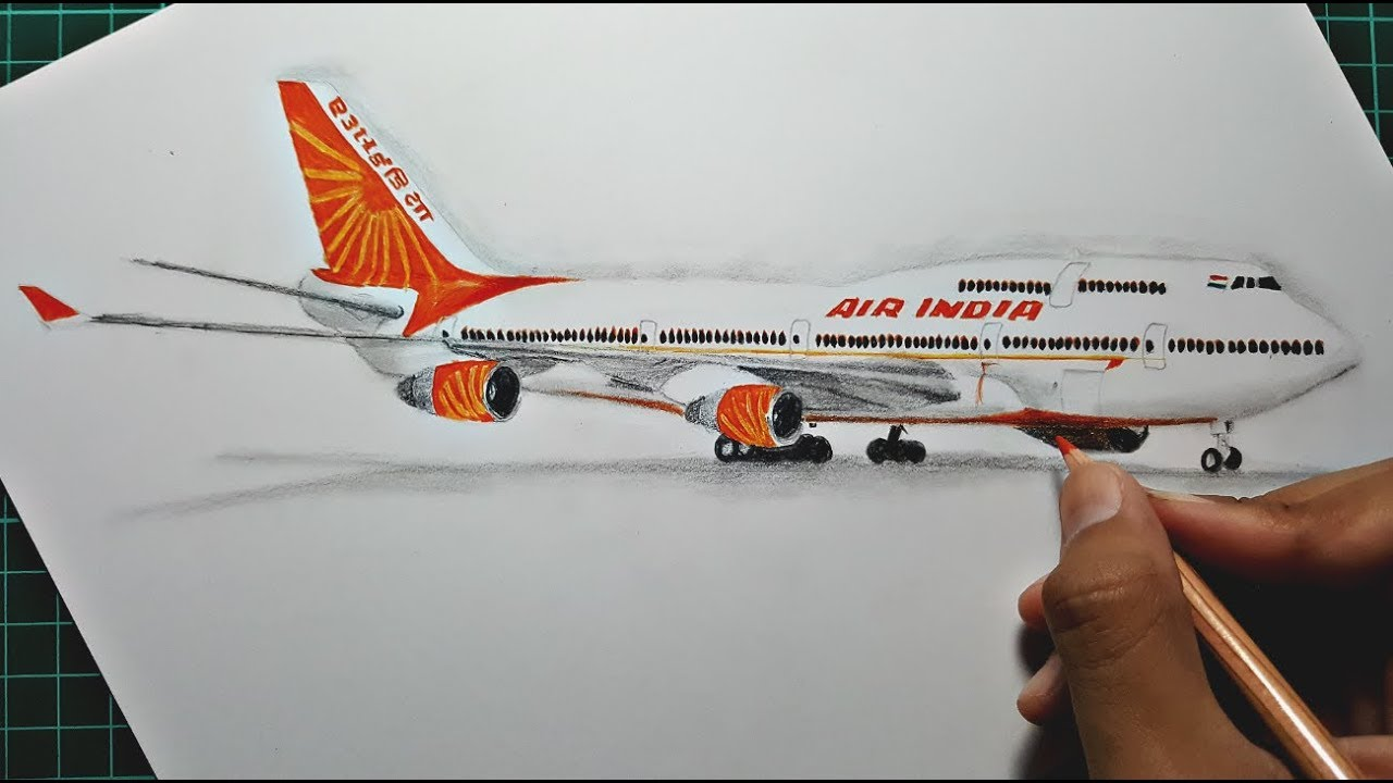 Drawing an Airplane ( Air India b747 )