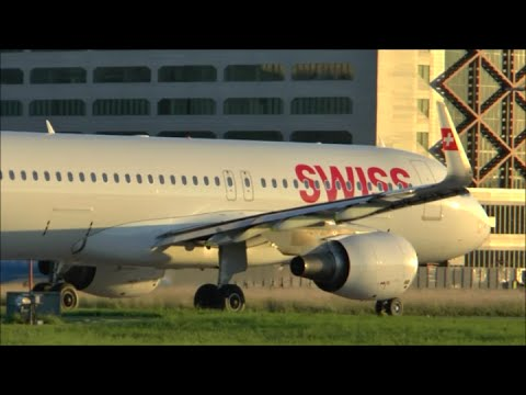 [HD MOVIE] A golden sunset at Zurich Airport & landing views with GoPro Hero4 replay - 30/06/2015