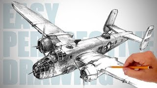 How to draw WW2 bomber aircraft (B-25 Mitchell) - Easy Perspective Drawing 33