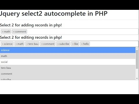 Jquery Select2 Autocomplete  In PHP