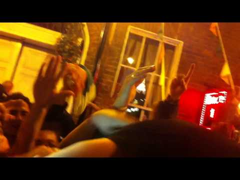 Sean St Ledger with Irish fans singin on Harcourt Street after EURO 2012 Playoff
