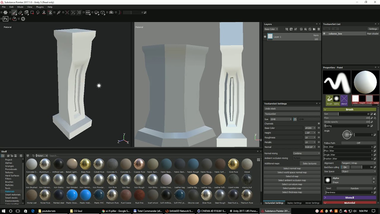 Quick Cinema4D, Unfold 3D and Substance Painter to Unity 3D pipeline