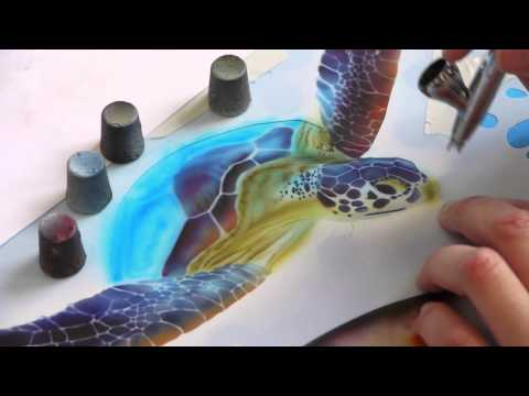 Airbrush Tutorial: Turtle Sealife Stencil Harder & Steenbeck Airbrush Anleitung
