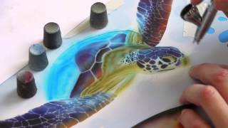 Airbrush Tutorial: Turtle Sealife Stencil Harder & Steenbeck Airbrush Anleitung