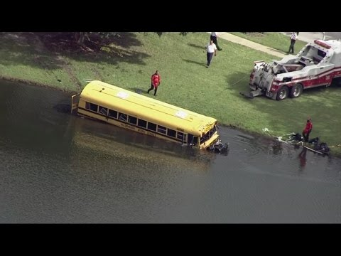 Hillsborough school bus crashes in pond