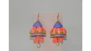 Handmade Paper Quilling Jhumkas For Navratri Celebration