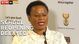 Deputy Minister of Basic Education Reginah Mhaule briefed media on Friday on the state of readiness by the Basic Education Department. The deputy minister announced that due to increased COVID-19 cases, schools had to delay reopening by two weeks.  #COVID19 #SchoolReopening #DepartmentOfBasicEducation