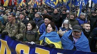 Националистические партии организовали марш в центре Киева