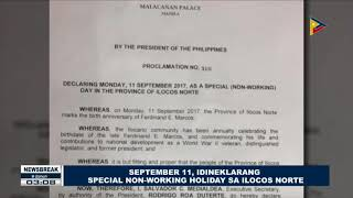 NEWS BREAK: September 11, idineklarang special non-working holiday sa Ilocos Norte