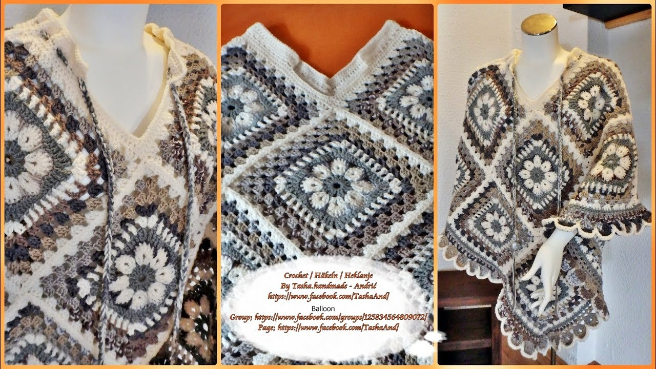 Learn How To Crochet Granny Square Poncho Bohème 3 Part Step By