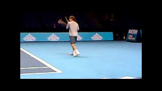 Andy Murray Practice Forehands Great Close Up Court Level View