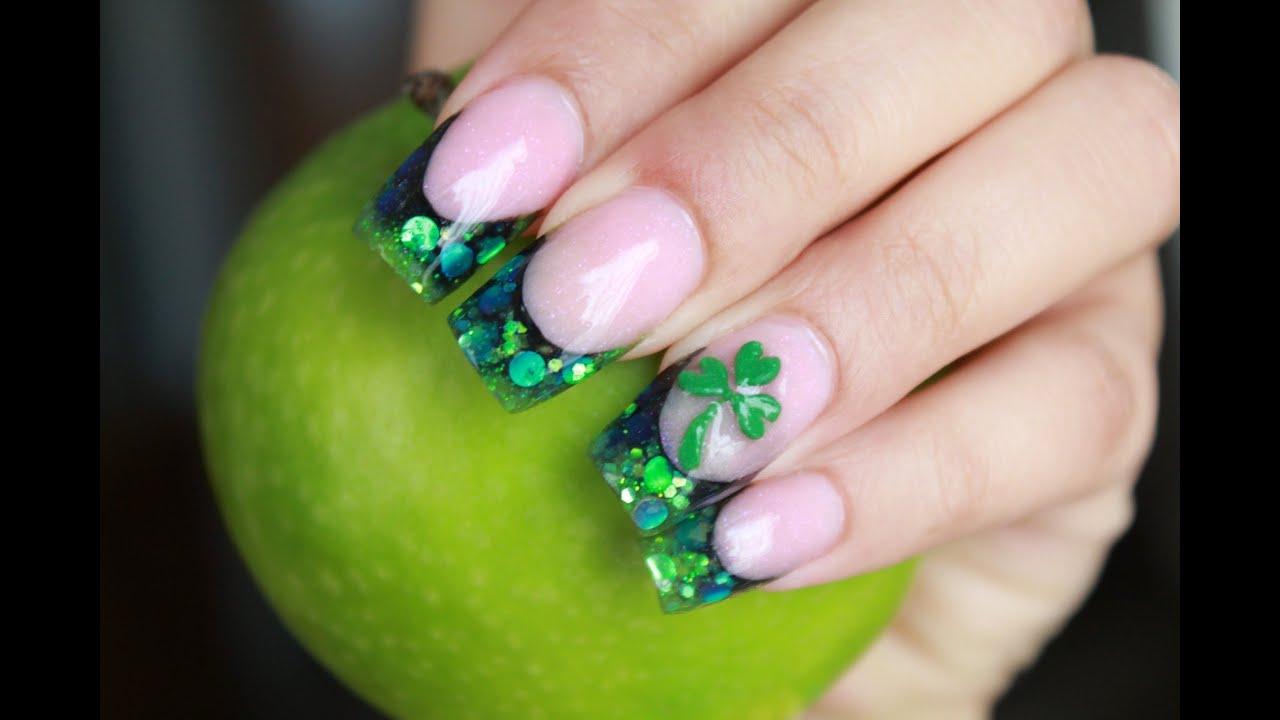 Uñas acrilicas verdes San Patricio glitter arte en relieve - YouTube