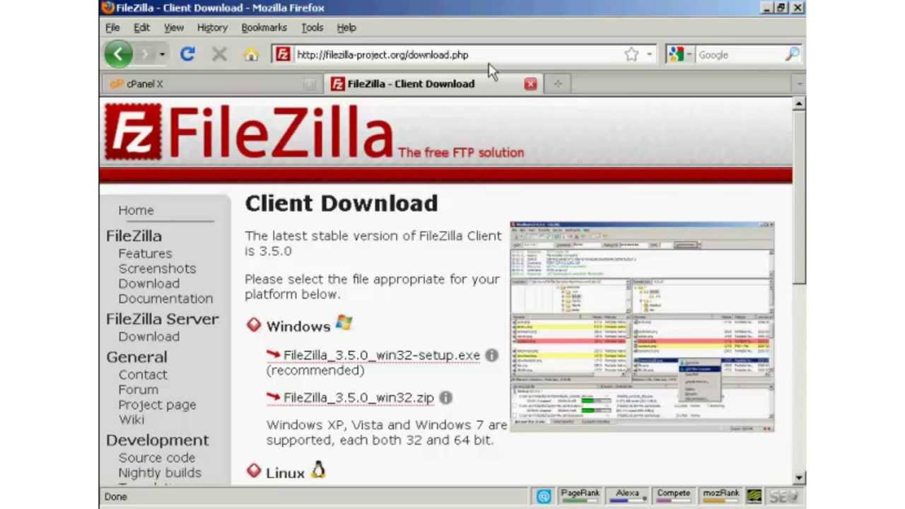 download files from website using filezilla