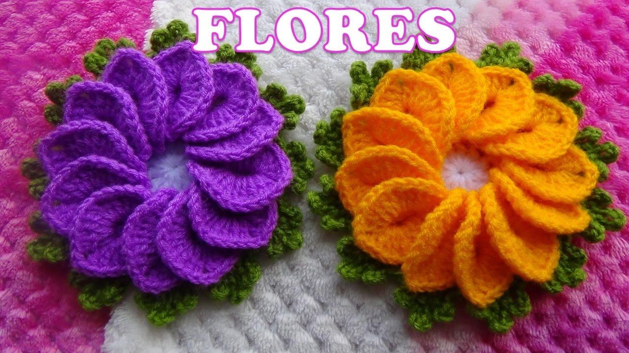 Como tejer Flores a crochet para tapetes y centros de mesa paso a ...