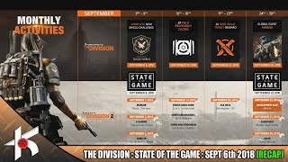 The Roadmap for the futer of The Division and more! - STATE OF THE GAME  SEPT 6th 2018 [RECAP]