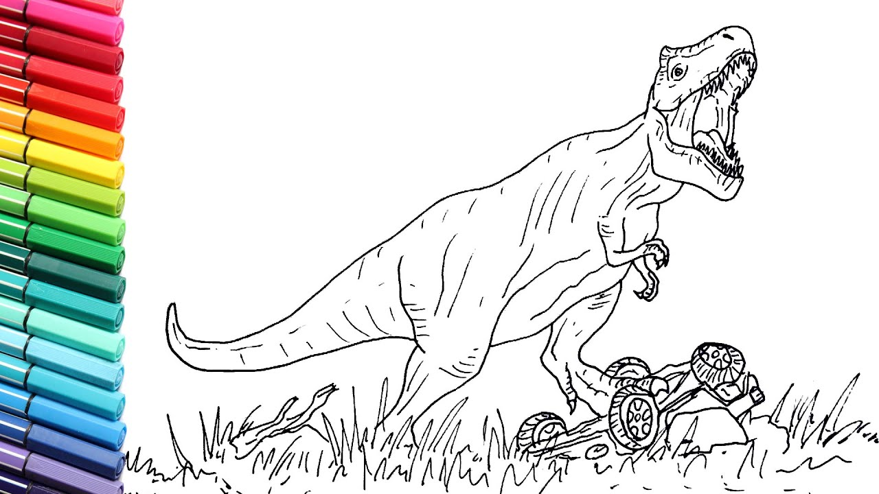T-Rex Drawing And Coloring - Learn to Draw Dinosaurs From ...