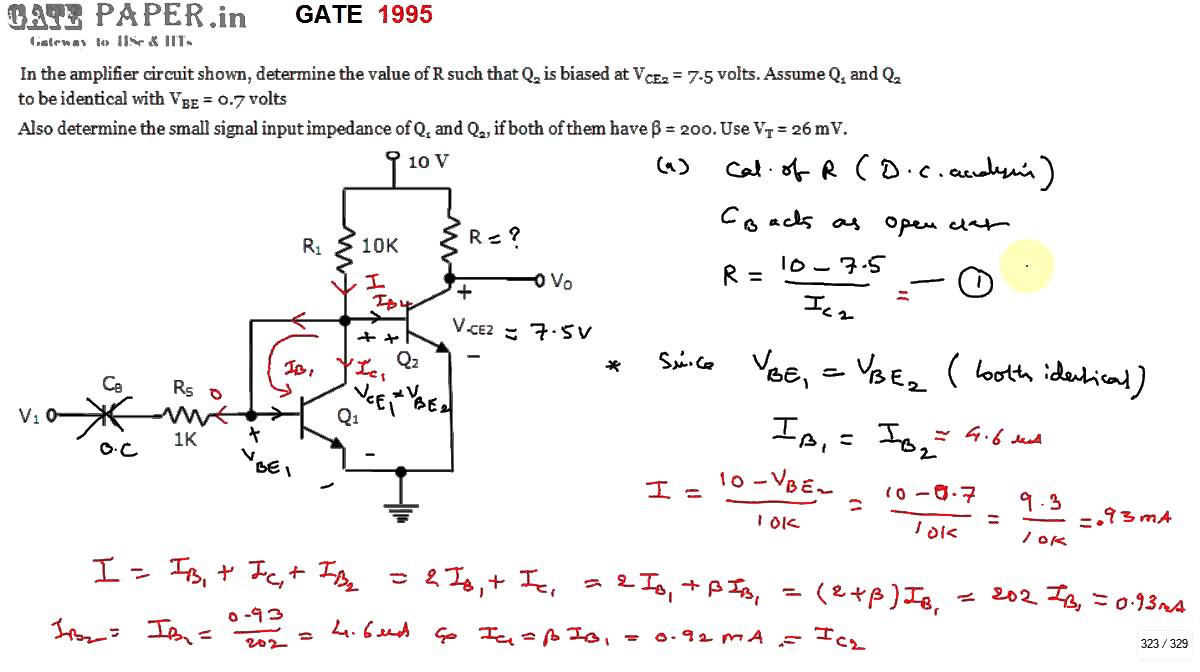 Gate 1995 Ece Input And Output Impedance Of Multistage Amplifier Darlington Transistor Related Keywords Suggestions