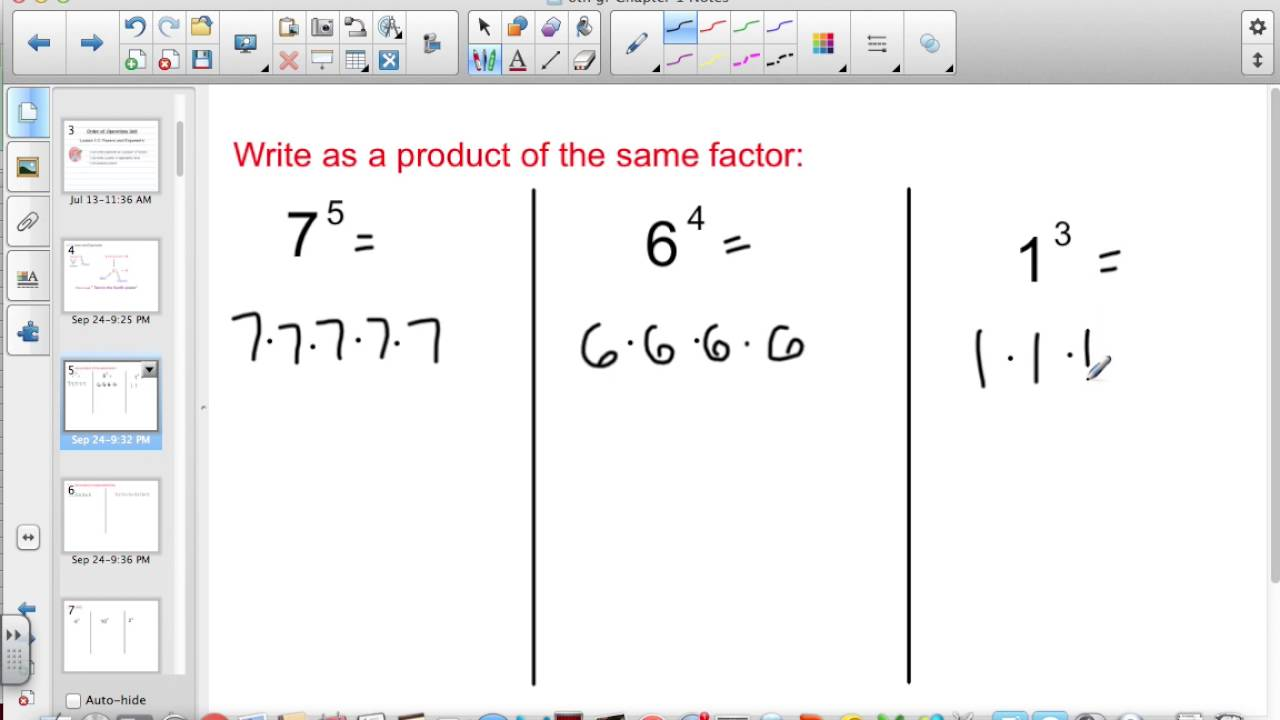 6th grade Lesson 1 2 Powers and Exponents