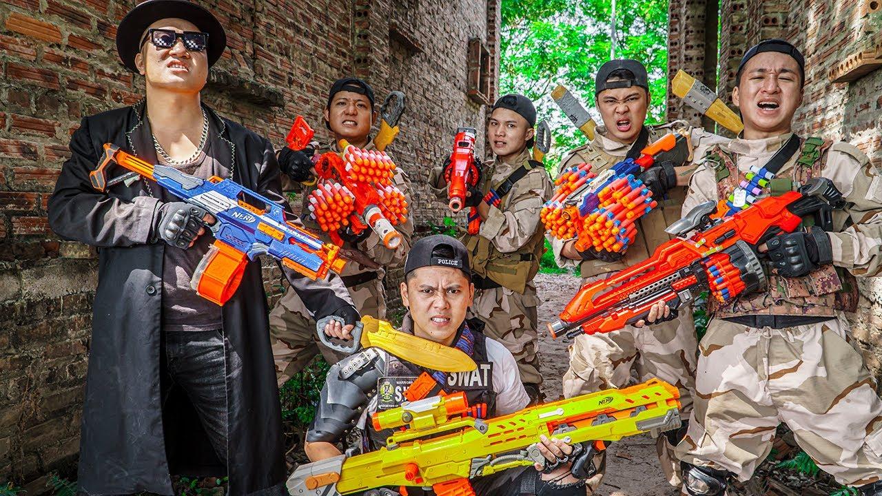 LTT Game Nerf War : Battle Hunting Criminals Warriors SEAL X Nerf Guns Fight Braum Crazy