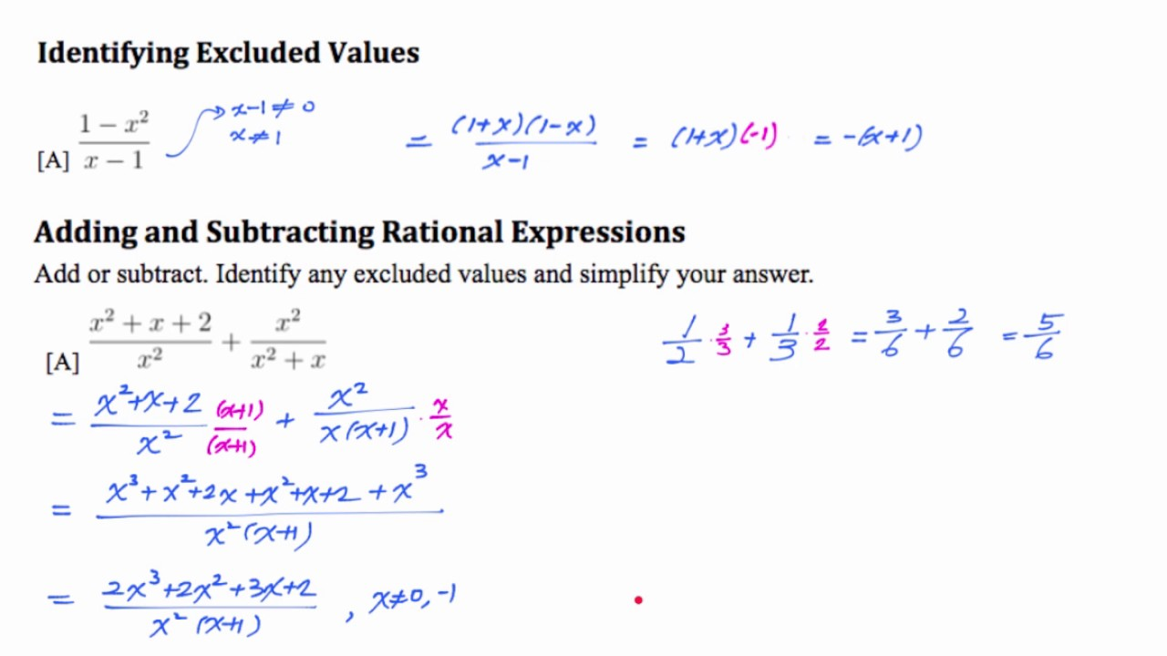 Worksheets Adding Rational Expressions Worksheet alg2 9 1 adding subtracting rational expressions youtube expressions