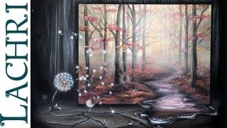 How to paint a surreal misty forest landscape with a dandelion in acrylic and airbrushing by Lachri