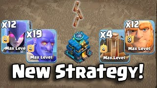 12 Witch+ 19 Bowler+12 max Giant +4 Max Earthquake Spell=New Strategy Ground Army 3 Star Th12 Max