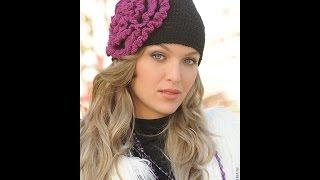 ШАПКА С ЦВЕТКОМ (крючок).  МК.  How to knit a hat with flower⁄ часть 1