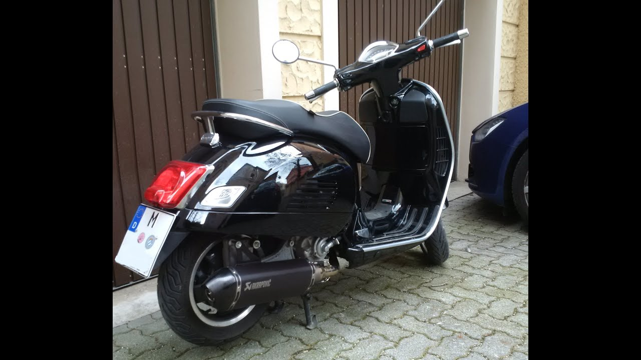 exhaust sound vespa gts 300 super with akrapovic nero. Black Bedroom Furniture Sets. Home Design Ideas