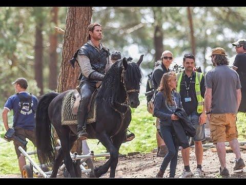 Dashing: Chris Hemsworth cut a heroic figure as he showed off his horsemanship skills