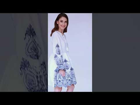 Video: Modna luźna sukienka z haftowanym dołem