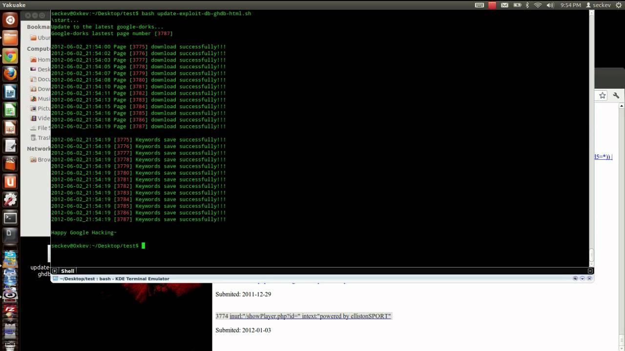 Update google dorks from exploit db html format