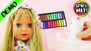BABY BORN SISTER wird mit BILOU gebadet | Geht Haarkreide wieder aus Puppen Haar raus? | Demo