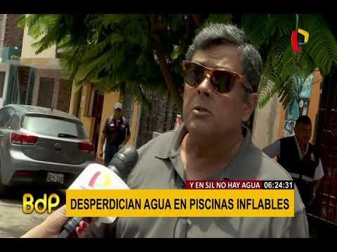 En SJL no hay agua y en las calles del Callao la desperdician con piscinas inflables