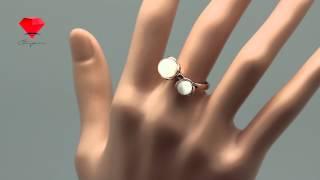 """Bije.ru: Позолоченное кольцо с минералами """"кошачий глаз"""" Ariella (Анелла)"""
