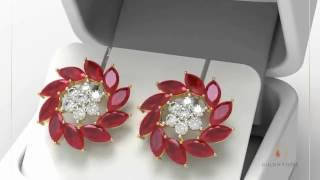 18kt Gold Ruby and Diamond Stud Earrings