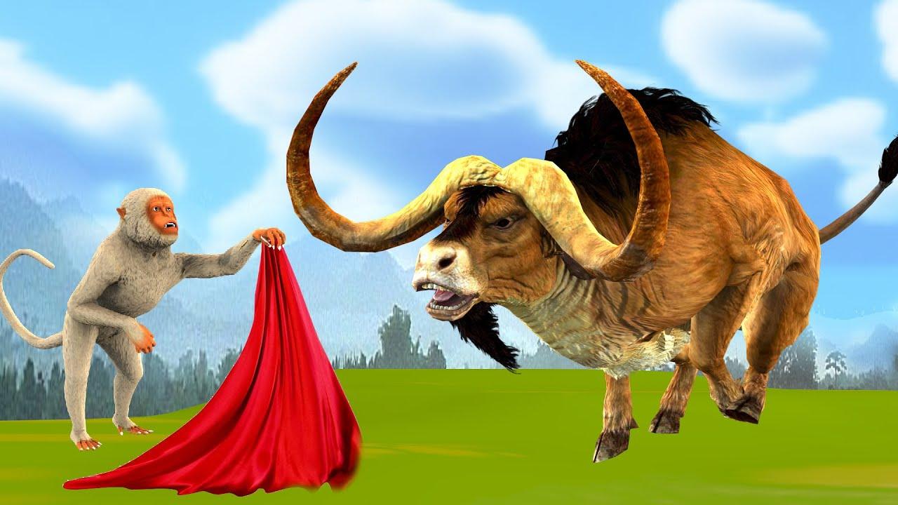 गुस्से में बैल और चालाक बंदर Angry Bull And Clever Monkey Story Hindi Kahaniya हिंदी कहानियां