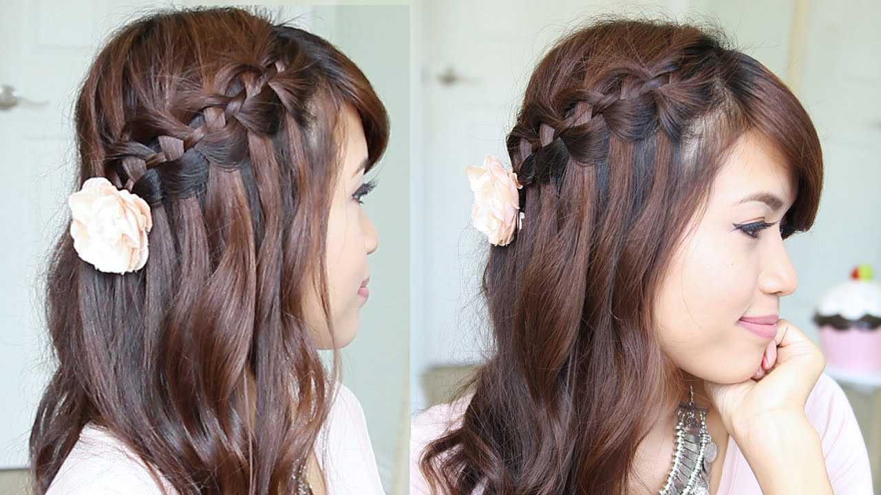 Short Long Hair Style 4Strand Waterfall Braid Hairstyle For Short & Long Hair  Youtube