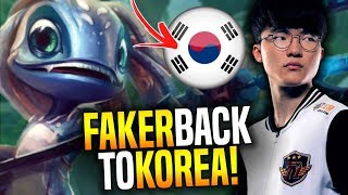 Faker is Back to Korea and Plays Fizz! - Faker Wants to Be the Best Again! | SKT T1 Replays