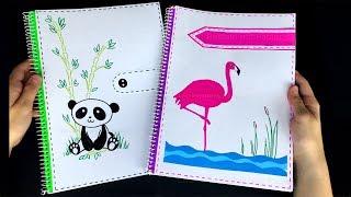 Basteln mit Papier: Block verschönern: Flamingo & Panda. Schulsachen: Ordner gestalten. DIY Schule