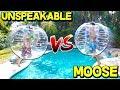 GIANT BUMPER BALL CHALLENGE! (UNSPEAKABLEGAMING VS MOOSECRAFT)