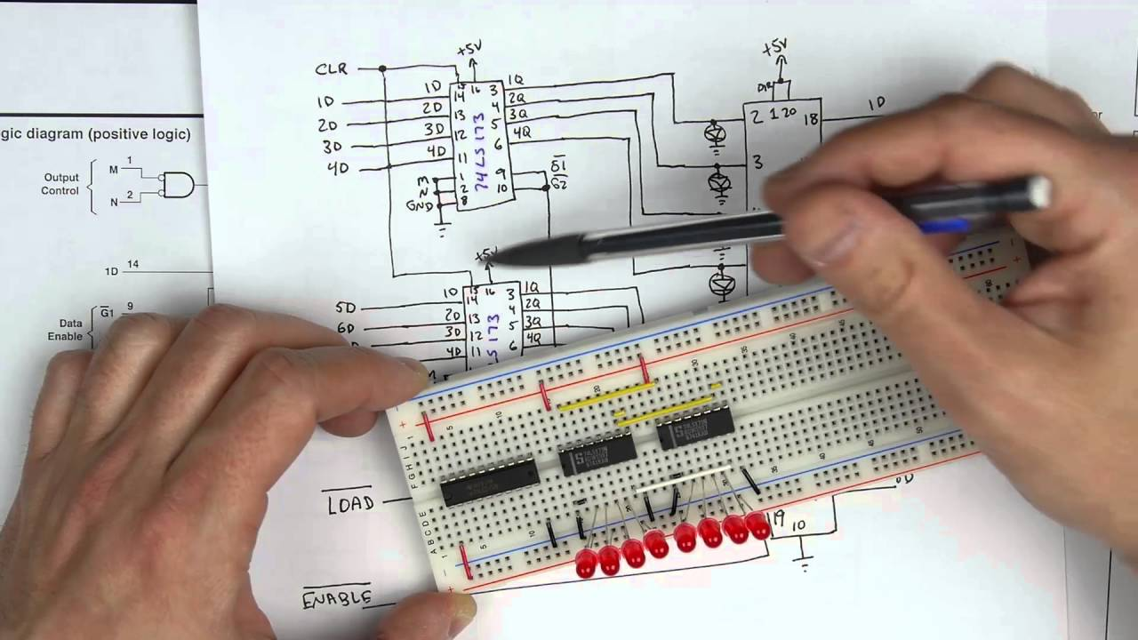 Building An 8 Bit Register Part 4 Youtube This Schematic Diagram Shows The Arrangement Of Four Or Gates Within A