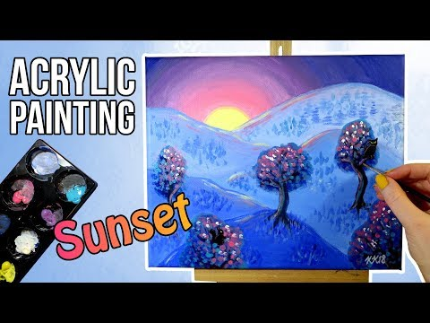 Blue Acrylic Mountain Sunset Landscape Painting with Colorful Trees