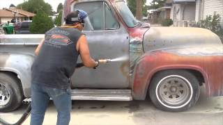 Blasting a 1954 Ford F100