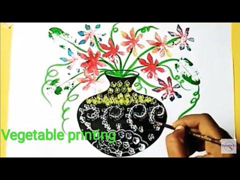 Vegetable Printing Vegetable Impression Drawing Flower Pot