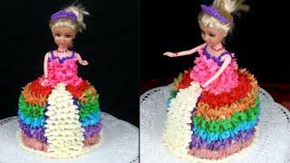 চুলায় তৈরি জন্মদিনের ডল কেক/প্রিন্সেস কেক | Barbie Cake/Princess Cake | Doll Cake